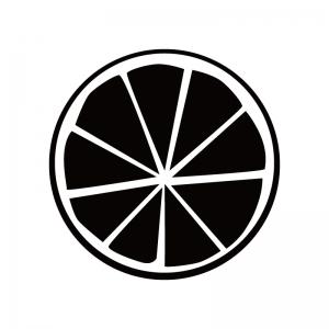グレープフルーツの断面図のシルエット