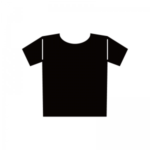 Tシャツの白黒シルエットイラスト
