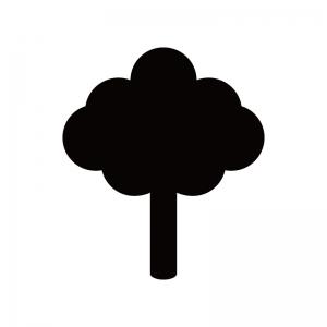 一本の木の白黒シルエット