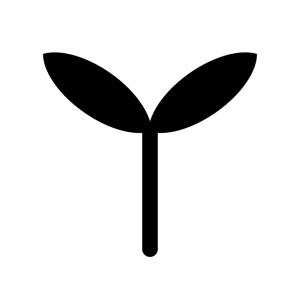植物の芽のシルエット