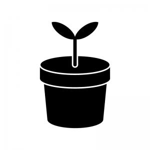 植木鉢から出た芽のシルエット