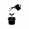 じょうろと植物の芽の白黒シルエット