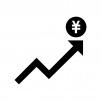 上昇と円マークのシルエット