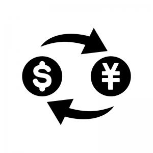 ドルと円マークのシルエット