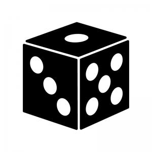 奇数目のサイコロのシルエット 無料のaipng白黒シルエットイラスト