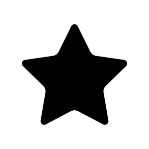 角丸の星の白黒シルエットイラスト