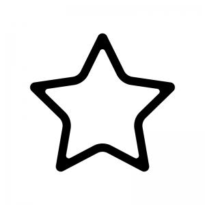 角丸の星の白黒シルエットイラスト02