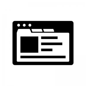 画像レイアウトのブラウザ画面の白黒シルエットイラスト素材