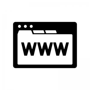 WWWのブラウザ画面の白黒シルエットイラスト素材