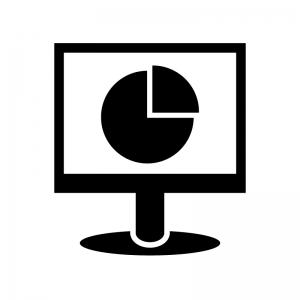 パソコンモニタと円グラフのシルエット