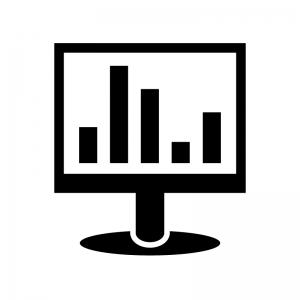 パソコンモニタと棒グラフのシルエット