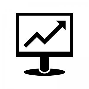 パソコンモニタと上昇矢印のシルエット