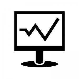 パソコンモニタと折れ線グラフのシルエット