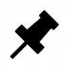 細い針の画鋲・ピンの白黒シルエットイラスト