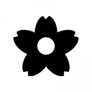 桜の花びらの白黒シルエットイラスト