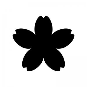 桜の花びらの白黒シルエットイラスト02