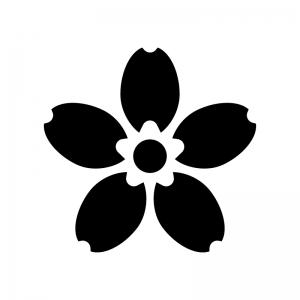 桜の花びらの白黒シルエットイラスト03