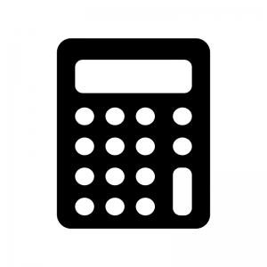 丸ボタンの計算機・電卓のシルエット