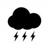 天気・雷雨のシルエット