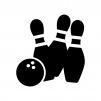 ボウリングのピンと玉のシルエット