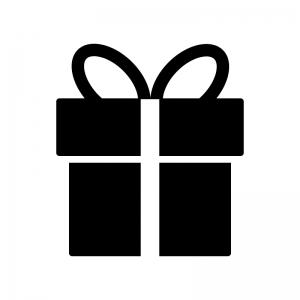 リボン付きのプレゼント箱のシルエットイラスト