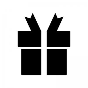 リボン付きプレゼント箱のシルエット02