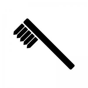 歯ブラシの白黒シルエットイラスト素材02