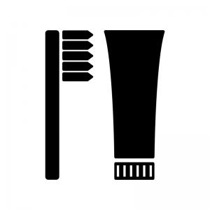歯ブラシと歯磨き粉のシルエット