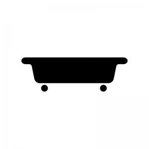 お風呂・バスタブの白黒シルエットイラスト素材