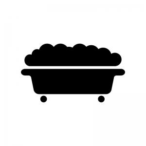 泡のお風呂・バスタブの白黒シルエットイラスト素材