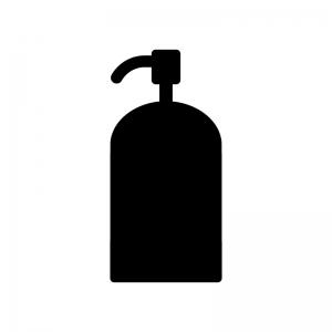 ポンプ容器の白黒シルエットイラスト素材