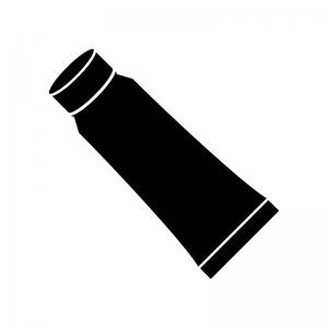 チューブ容器の白黒シルエットイラスト素材