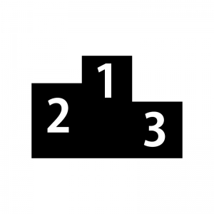 表彰台の白黒シルエットイラスト素材