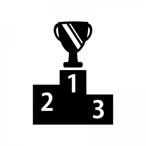 優勝カップと表彰台の白黒シルエットイラスト素材