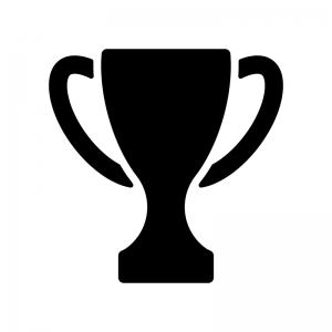 優勝カップ・トロフィーの白黒シルエットイラスト素材02