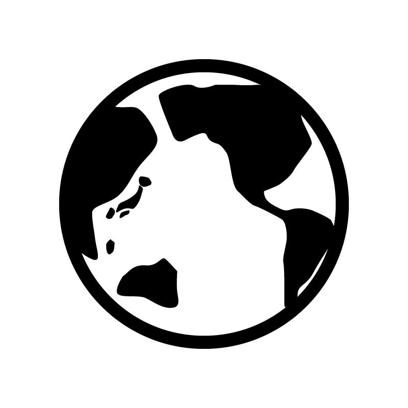 地球のシルエットイラスト 無料のai Png白黒シルエットイラスト