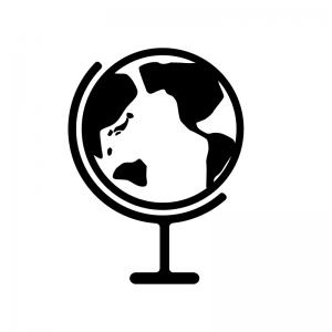 地球儀の白黒シルエットイラスト素材