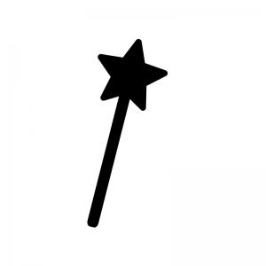 星が付いたステッキ・杖の白黒シルエットイラスト素材