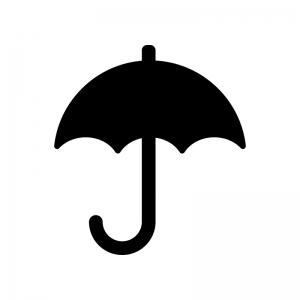 傘・パラソルの白黒シルエットイラスト素材02
