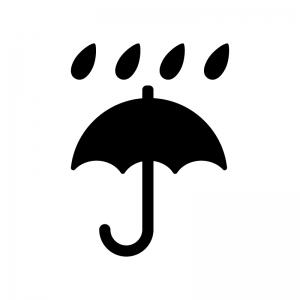 天気・傘と雨の白黒シルエットイラスト素材
