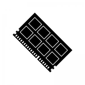 ノートPC用メモリの白黒シルエットイラスト素材