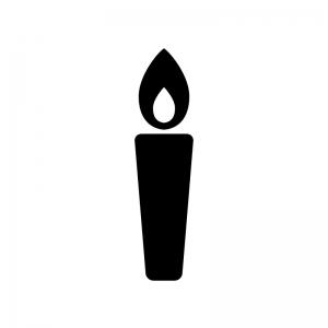 ローソク・キャンドルの白黒シルエットイラスト素材