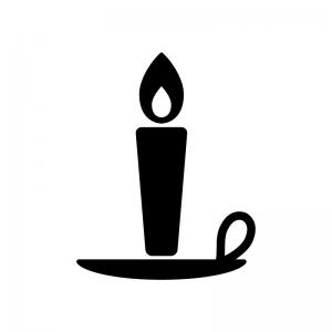 受皿付きローソク・キャンドルの白黒シルエットイラスト素材