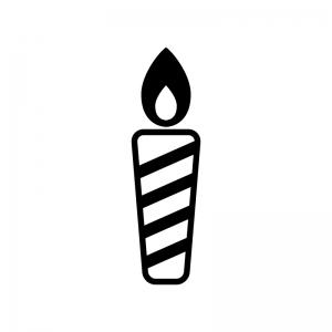 ローソク・キャンドルの白黒シルエットイラスト素材02