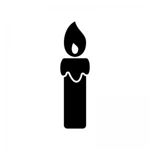 ローソク・キャンドルの白黒シルエットイラスト素材03