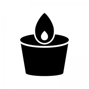 アロマキャンドルの白黒シルエットイラスト素材