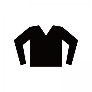 Vネックの長袖のシャツのシルエット