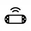 携帯ゲーム機から電波を発信しているシルエット