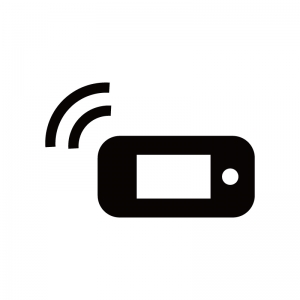 モバイルルータから電波を発信しているシルエット