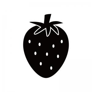 イチゴのシルエット 無料のaipng白黒シルエットイラスト